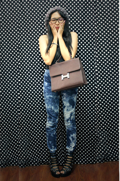 dark brown leather bag Hermes bag - black boots wedges Gosh wedges
