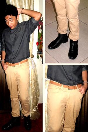 denim shirt Pisanti shirt - leather Hush Puppies boots