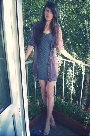 gray H&M dress - purple GINA TRICOT cardigan - silver H&M shoes