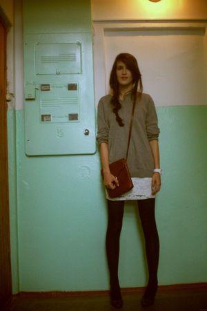 gray H&M sweater - white H&M dress - black tights - brown vintage purse - purple