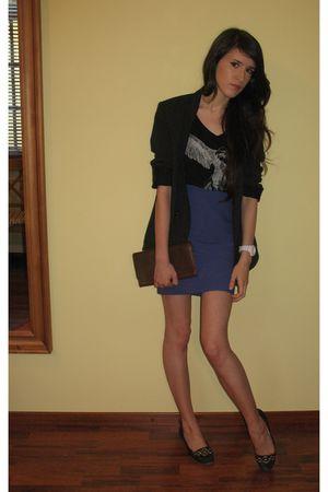 skirt - black H&M t-shirt - black blazer - brown purse - white Oasis accessories