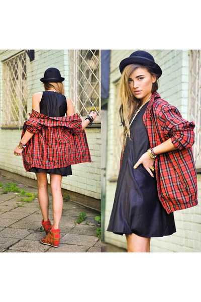 black dress - red checked jacket - dark khaki brass necklace