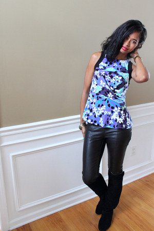 Steve Madden boots - peter pilotto Target shirt - faux leather H&M pants