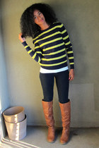 neon lime  navy IZOD sweater - DSW boots - Target jeans