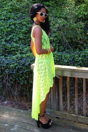 neon lace Forever 21 dress - black suede Steve Madden sandals