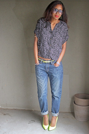 neon Boutique 9 heels - thrifted Levis jeans - dotted Target shirt