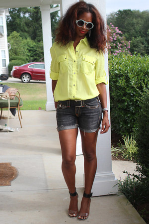 neon yellow calvin klein top - diy True Religion shorts