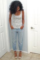 cheetah Walmart top - boyfriend jeans Old Navy jeans - Nine West heels
