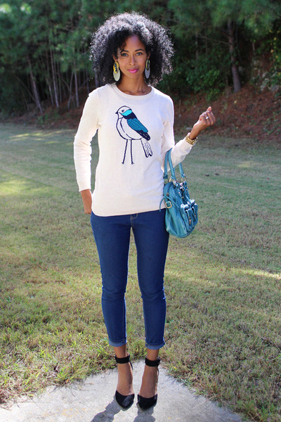 bird print Old Navy sweater - Forever 21 jeans - DSW heels