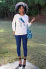 Forever-21-jeans-bird-print-old-navy-sweater-dsw-heels