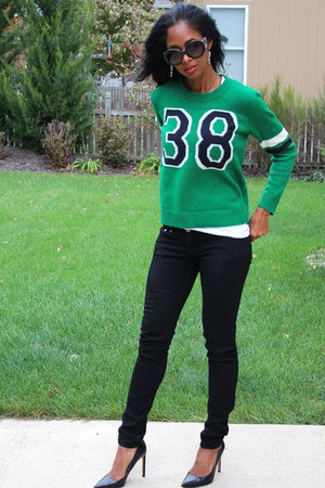 green Forever 21 sweater - black H&M jeans - Prada sunglasses