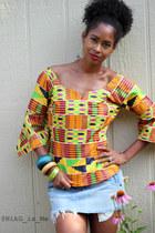 kente cloth blouse - Guess skirt