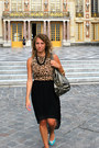 Pleated-lulus-skirt-express-leopard-top-necklace