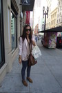 Light-pink-zara-blazer-nude-urban-outfitters-top-dark-brown-shoes-dark-bro