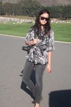 gray TwelvebyTwelve blouse - gray H&M jeans - red Marc Jacobs accessories - blue