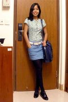 green Arizona shirt - blue thrifted skirt - black thrifted shoes - black sm depa