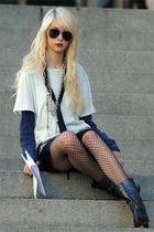 white t-shirt - blue shirt - black boots - black stockings - black shorts - blac