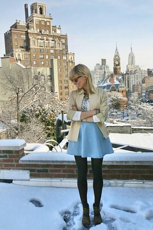 sky blue American Apparel skirt - beige vintage blazer
