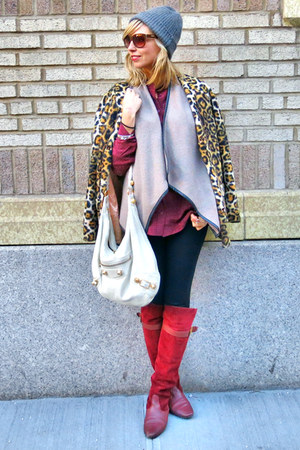 brick red vintage boots - mustard vintage coat - heather gray rag & bone hat