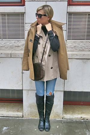 beige Forever 21 vest - black Via Spiga boots - tan Michael Kors coat