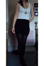 black asos skirt - white Topshop vest - black Marks and Spencers tights - gold D