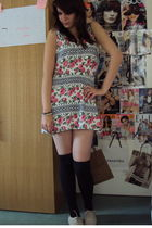 white Topshop dress - gray Newlook socks - beige Ebay shoes