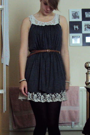 gray new look dress - brown Primark belt - black Marks and Spencers tights