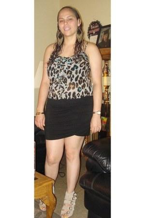 Gap wedges - Forever 21 blouse - black skirt Victorias Secret skirt