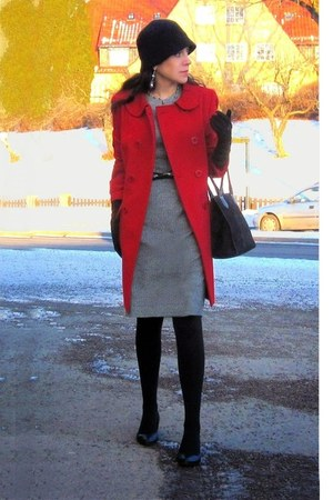 gray Mango dress - red Nicholas K coat - black Carlo Rossetti heels