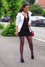Black-thierry-mugle-dress-white-bershka-jacket-hot-pink-mehry-mu-bag