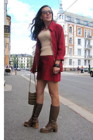 maroon Studio F suit - brown Aldo boots - beige Zara blouse