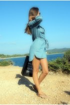 sky blue cotton Calzedonia dress
