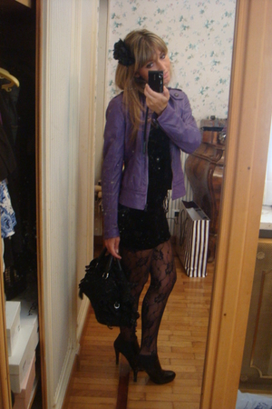 H&amp;M dress - maurizio troiano jacket - vintage stockings - stuart weitzman boots 