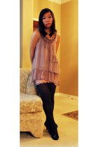 light pink dress - black floral Forever21 tights - black heels - pink lace skirt