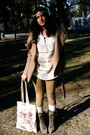 Light-brown-boots-camel-jacket-cream-bag-cream-jumper-cream-stockings