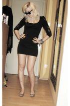 black H&M dress - beige H&M shoes - black H&M sunglasses - silver New Yorker bra