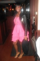 bubble gum tiercocktail H&M dress - black leather the gap jacket - nude Chinese