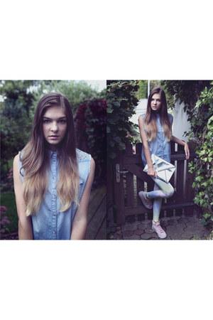 galaxy Topshop leggings - jeans glitter Topshop shirt - silver H&M bag