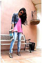 silver Sacoor blazer - pink Topshop top - blue new look jeans - silver Aldo shoe