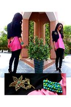pink Topshop top - black new look blazer - black Topshop jeans - black Kurt Geig