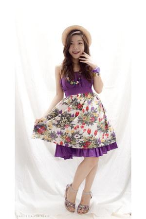 purple floral Nano dress - tan weaved hat - deep purple necklace