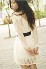 Cream-lace-oasap-dress-dark-brown-cole-vintage-belt-bubble-gum-wedges