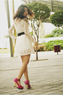 Cream-lace-oasap-dress-dark-brown-cole-vintage-belt-bubble-gum-wedges