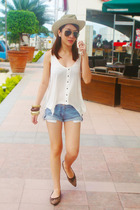 white Topshop top - blue random shorts - brown Folded & Hung shoes - black vinta