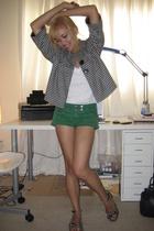 white American Apparel shirt - green Forever 21 shorts - Forever 21 jacket - Gap