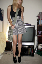 black Forever 21 top - American Apparel skirt - black Forever 21 shoes - green H