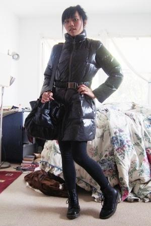 gray Michael Kors coat - black Forever 21 leggings - black Doc Marten boots - bl