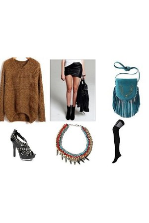 chunky knit sweater - black tights tights - cross body bag bag - necklace