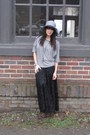Brown-steve-madden-boots-heather-gray-straw-floppy-urban-outfitters-hat-blac