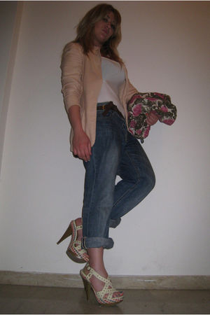 blue H&M jeans - beige  shoes - pink vintage jacket - white Zara top - brown Zar